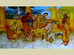 The Buddha and Ananda tend a Sick Monk, at the Nava Jetavana, Shravasti